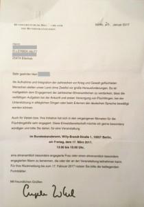 Kanzlerin Merkel lädt einen Vertreter von ELLERBEK HILFT nach Berlin ein.